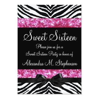 """Pink Glitter Zebra Bow Sweet Sixteen 5"""" X 7"""" Invitation Card"""