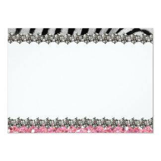 Pink Glitter Zebra Personalized Thank You Announcements