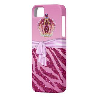 Pink Glitter Zebra Print Jewel Crown iPhone 5 Case