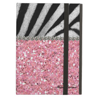 Pink Glitter Zebra Rhinestones Look Personalized Case For iPad Air