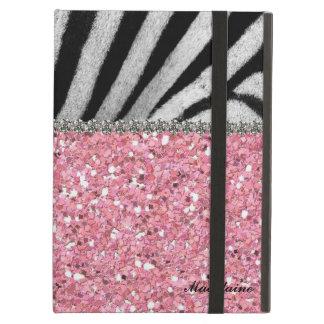 Pink Glitter Zebra Rhinestones Look Personalized Case For iPad Air