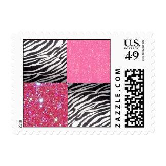 pink glitter zebra stamps
