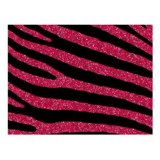 Pink Glitter Zebra Stripe Pattern Postcard