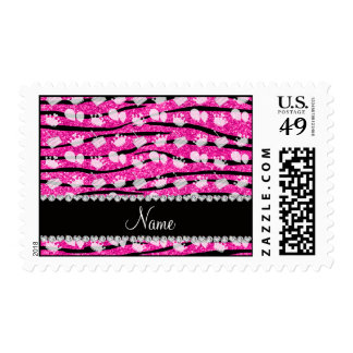 Pink glitter zebra stripes birthday cake balloon postage