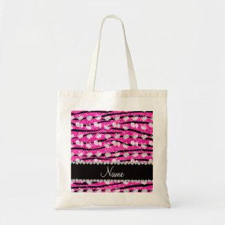 Pink glitter zebra stripes birthday cake balloon tote bag