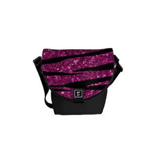 Pink glitter zebra stripes messenger bag