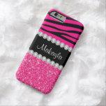 Pink Glitter Zebra Stripes on Black iPhone 6 Case