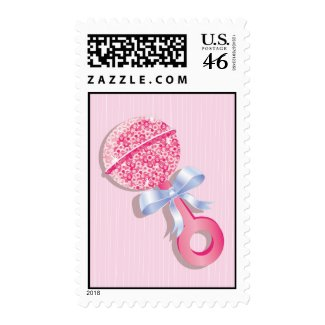 Pink Glittering Baby Rattle Stamp