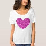 Pink Glittering Sparkle Heart Tshirt