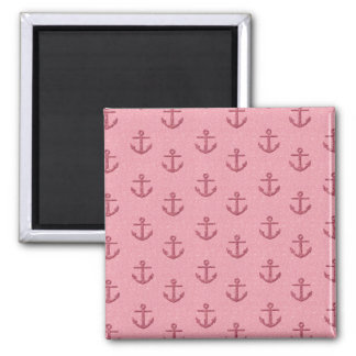 Pink Glittery Anchor Pattern 2 Inch Square Magnet