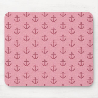 Pink Glittery Anchor Pattern Mouse Pad