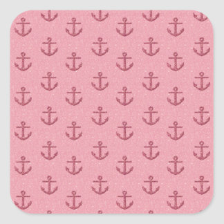 Pink Glittery Anchor Pattern Square Sticker