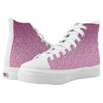 Pink Glittery Gradient High-Top Sneakers