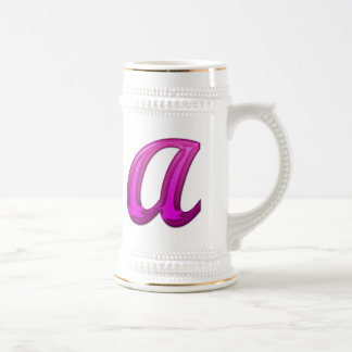Pink Glittery Initial - A Beer Stein