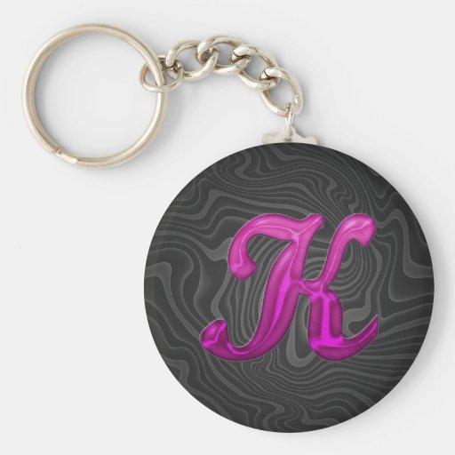 Pink Glittery Initial - K Keychain