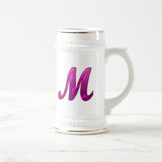 Pink Glittery Initial - M Beer Stein