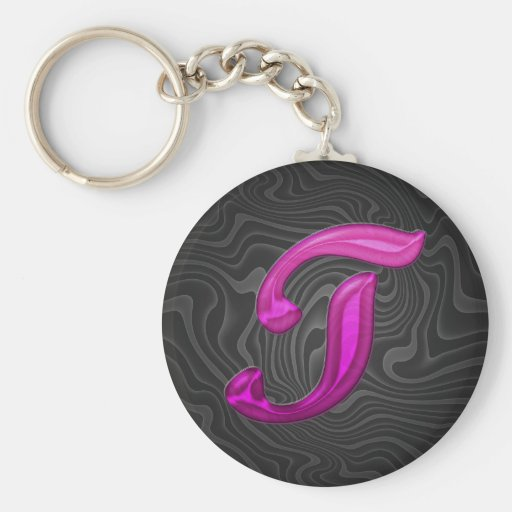 Pink Glittery Initial - T Basic Round Button Keychain