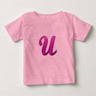 Pink Glittery Initial - U T-shirt