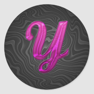 Pink Glittery Initial - Y Classic Round Sticker