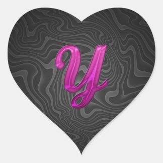 Pink Glittery Initial - Y Heart Sticker