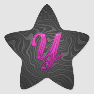 Pink Glittery Initial - Y Star Sticker