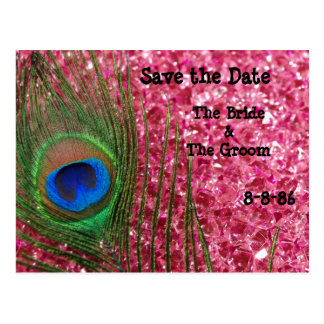 Pink Glittery Rock Peacock Save the Date Postcard