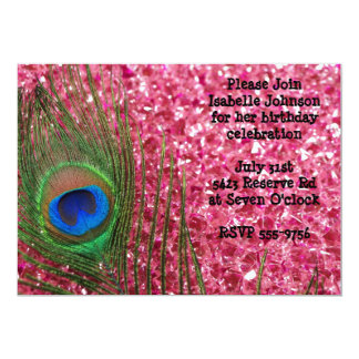 "Pink Glittery Rocks Peacock Birthday Invitation 5"" X 7"" Invitation Card"