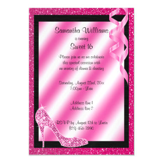 Pink Glittery Stiletto & Streamers Sweet 16 Magnetic Card