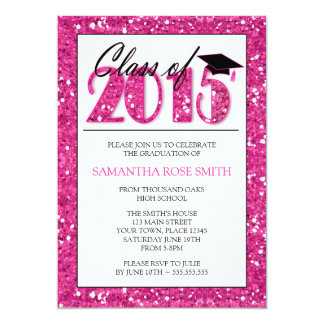 Pink Glitz 2015 Graduation Party Invitation