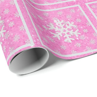 Pink Glitz : Snowflakes Wrapping Paper