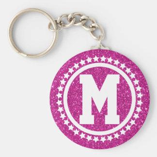Pink Glitz Super Star Monogrammed Keychain