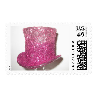 Pink glitzy Top Hat Postage stamp
