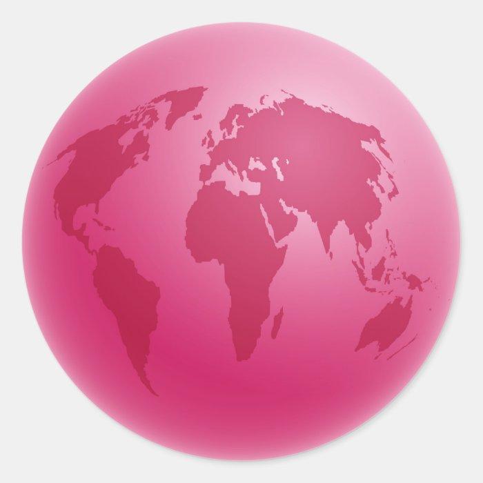 Pink Globe Classic Round Sticker