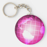 Pink Globe Keychains