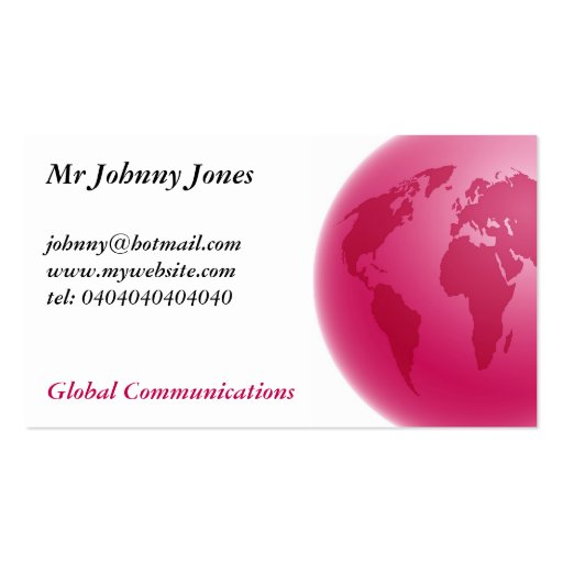 Pink Globe, Mr Johnny Jones Double-Sided Standard Business Cards (Pack Of 100)