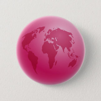 Pink Globe Pinback Button
