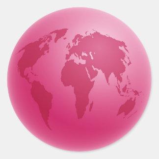 Pink Globe Round Sticker