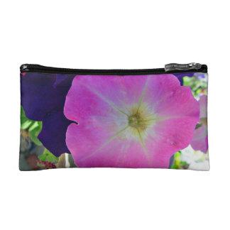 Pink gloryand dark purple flowers cosmetic bag