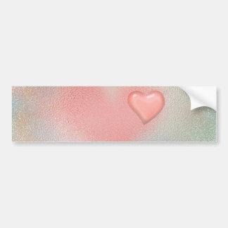 Pink glossy glass heart design bumper sticker