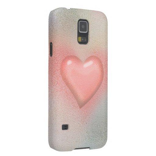 Pink glossy glass heart design galaxy nexus cover