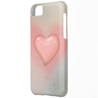 Pink glossy glass heart design iPhone 5C cover