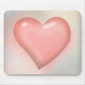 Pink glossy glass heart design mouse pad