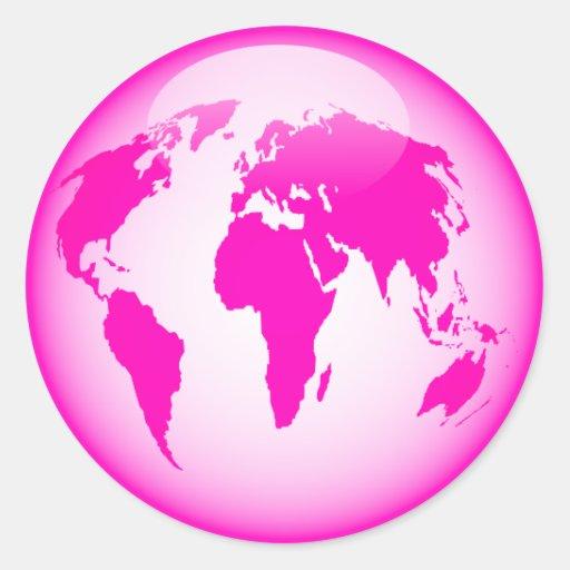 Pink Glossy Globe Classic Round Sticker