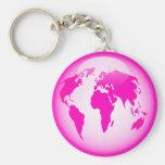 Pink Glossy Globe Keychain