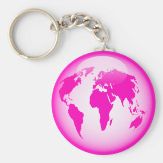 Pink Glossy Globe Keychains
