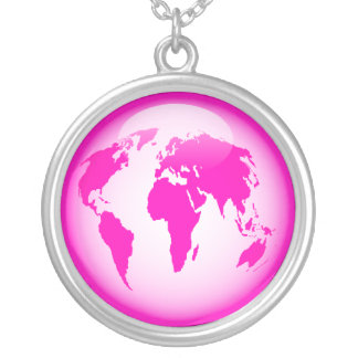 Pink Glossy Globe Silver Plated Necklace