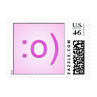 Pink Glossy Text Smiley Postage Stamp