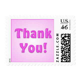 Pink Glossy Thank You Small Postage Stamps