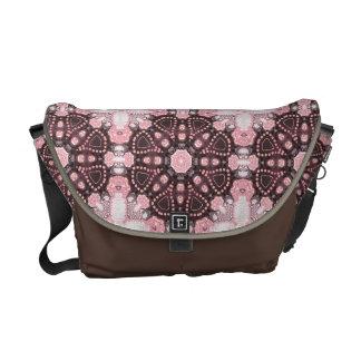 Pink Glow Geometric Batik Fusion Courier Bag