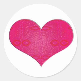 pink glow heart classic round sticker